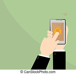 E-commerce in smart phone on Businessman hand.Business Concept Illustration.