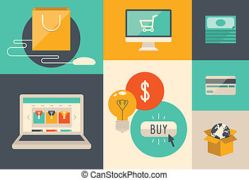 e-commerce, internet bevásárlás, ikonok