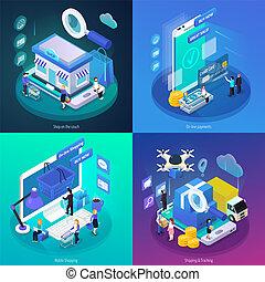 e-commerce, isométrique, concept, lueur