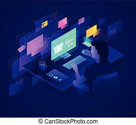 E-commerce - Isometric illustration on the topic of e-...