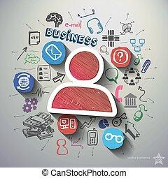 e-commerce, kollázs, noha, ikonok, háttér