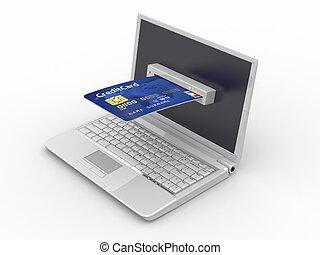 e-commerce., laptop, e, credito, card.