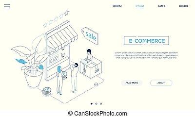 E-commerce - line design style isometric web banner on white...