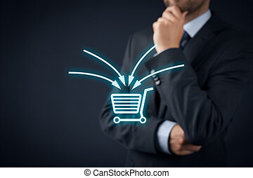 E-commerce marketing concept. Marketing specialist think...