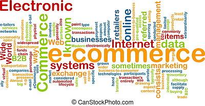 e-commerce, mot, nuage