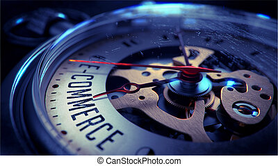 E-Commerce on Pocket Watch Face with Close View of Watch Mechanism. Time Concept. Vintage Effect.