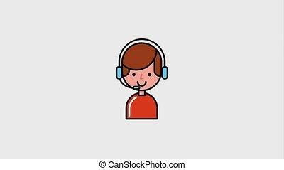 e-commerce online operator call center box cargo animation...
