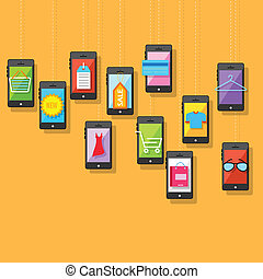E commerce Online Shopping - illustration of e commerce...