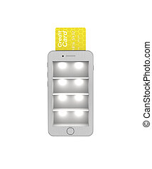 E-commerce. Online Store in the smartphone protected. 3d illustration on a white background. Render.