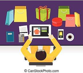 E-commerce or online shopping illustration. Flat design illustration concept.