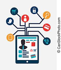 e-commerce  over gray background