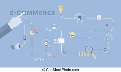 E-commerce process background.