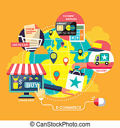 e-commerce process concepts in flat design