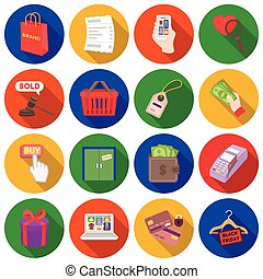 E-commerce set icons in flat style. Big collection e-commerce vector symbol stock illustration