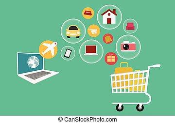 E-commerce. Set icons online shopping.
