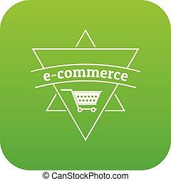 E commerce shop icon green vector