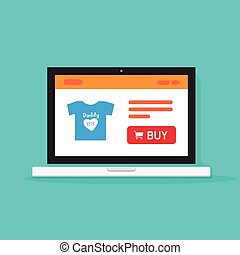 E-commerce shop, online store on laptop computer vector illustration, internet shop website on computer screen