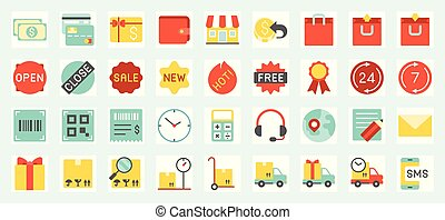 E commerce, shopping and delivery icons set