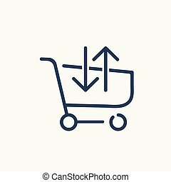 E commerce shopping basket icon.