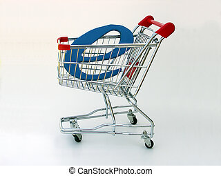 """A miniature shopping cart isolated on white with a blue letter """"E"""" in the basket depicting e-commerce or online shopping."""