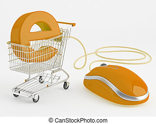 E-commerce - shopping carts operated computer mouse - the...