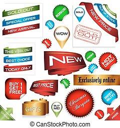 e-commerce sign set, vector illustration