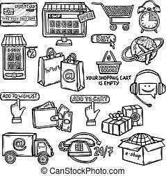 e-commerce, skiss, sätta, ikonen