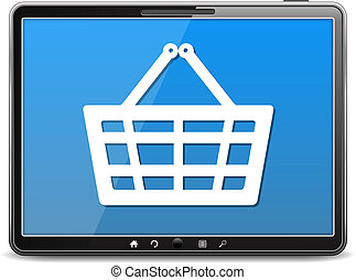 E-Commerce, tablet computer with icon of a shopping basket, vector eps10 illustration