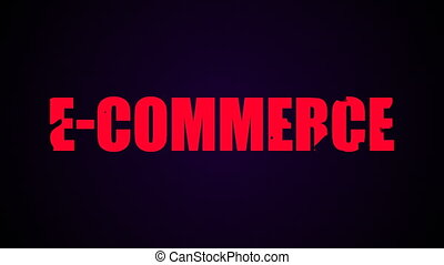 E-commerce text. Liquid animation background
