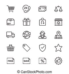 E-commerce thin icons - Simple vector icons. Clear and...