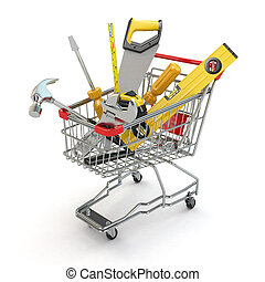 E-commerce. Tools and shopping cart on white isolated...