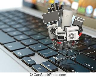 e-commerce, vagy, online bevásárlás, concept., otthon, készülék, alatt, bevásárlókocsi, képben látható, a, laptop, keyboard.