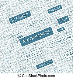 E-COMMERCE. Word cloud concept illustration. Wordcloud...