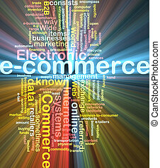 E-commerce word cloud glowing - Word cloud concept ...