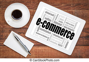 e-commerce word cloud on tablet