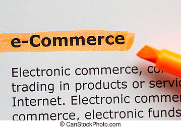 e-commerce word highlighted on the white background