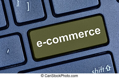 E-commerce word on keyboard button