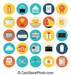 e-commercio, appartamento, mercato, icone