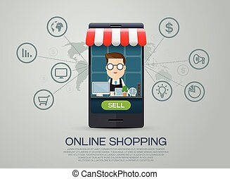 e-commercio, shopping, affari, linea