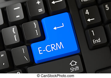 E-CRM Close Up of Blue Keyboard Key. 3D.