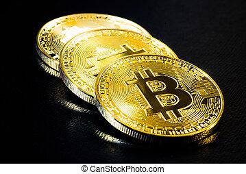 e-cryptocurrency, gylden, mønter., bitcoins, baggrund., 3, sort, fysisk