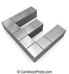 e, cubique, métal, lettre