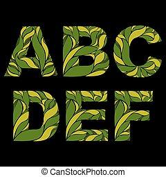 e, d, ornament., lettres, c, b, caps., goutte, a, modèle, herbier, capital, floral, élégant, décoré, police, f