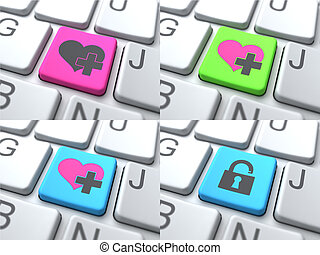 E-Dating Concept - Color Button on Keyboard.
