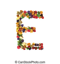 E, Dried flower alphabet isolated on white background