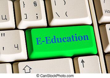 e, educación, llave