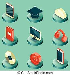 E-education color isometric icons set