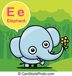 E Elephant color cartoon and alphabet for children to learning vector illustration eps10