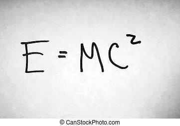 E equals mc squared - A famous mathematical formula written ...