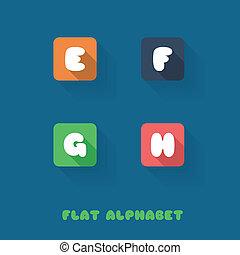 E F G H - Flat Design Button Alphabet